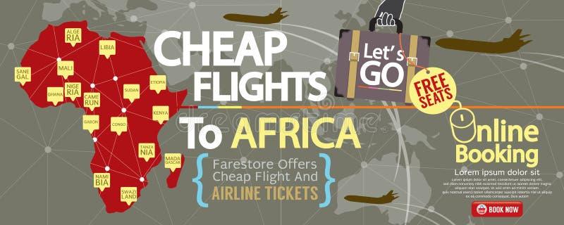 便宜的飞行到非洲1500x600横幅 皇族释放例证