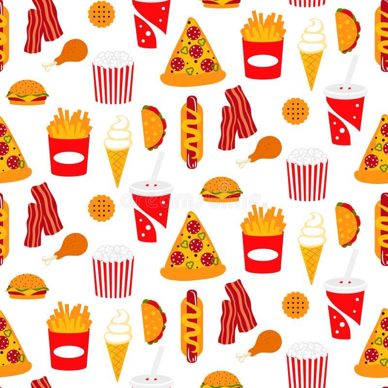 便当传染媒介无缝的样式用比萨、苏打和烟肉 库存例证