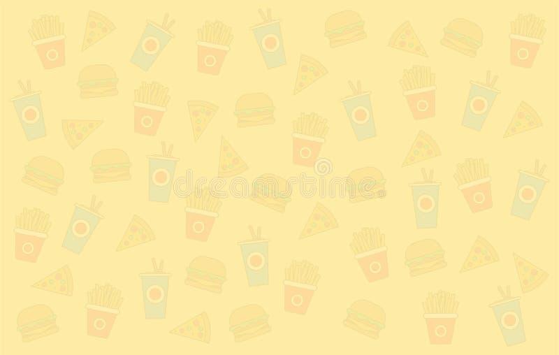 便当传染媒介背景 便当汉堡包晚餐和餐馆、许多鲜美集合的便当膳食和不健康的便当 库存例证