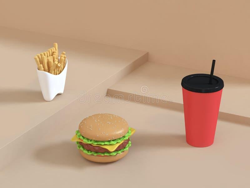 便当动画片在与红色杯子薯条3d翻译的抽象奶油色场面设置的样式汉堡包 向量例证
