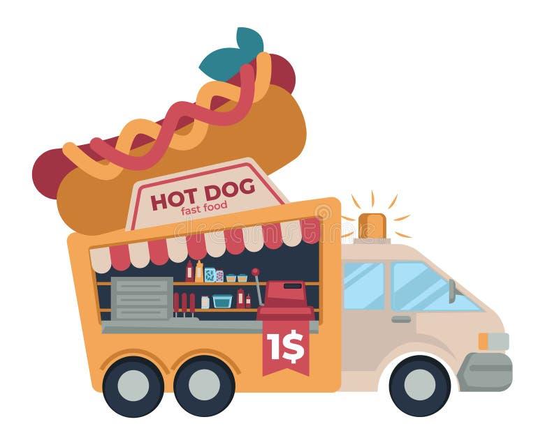 便当卡车热狗便宜的街道饭食 向量例证