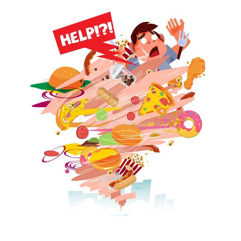 便当龙卷风与吹肥胖人的 陷在垃圾食品-传染媒介 库存例证