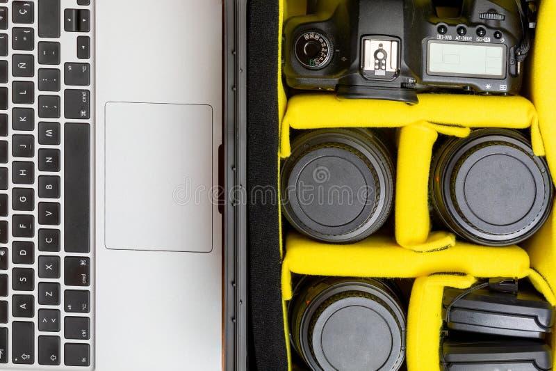 便携式的专业照相设备 免版税库存图片