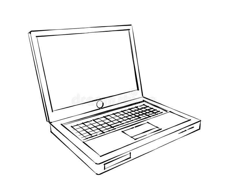 便携式计算机剪影 库存例证