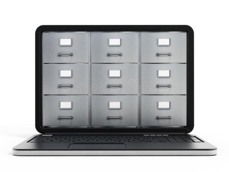 便携式计算机数据存储概念 向量例证
