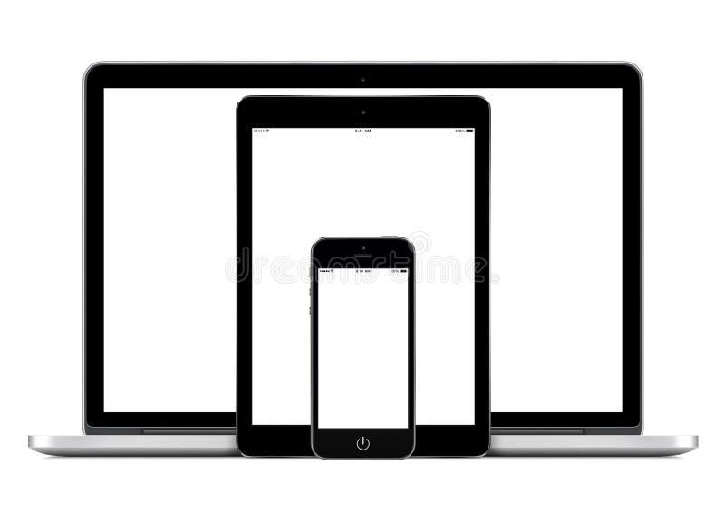 便携式计算机智能手机和数字式片剂个人计算机模板 向量例证