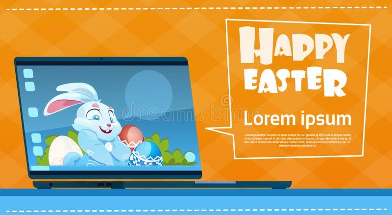 便携式计算机装饰了五颜六色的蛋兔子复活节假日标志贺卡 皇族释放例证