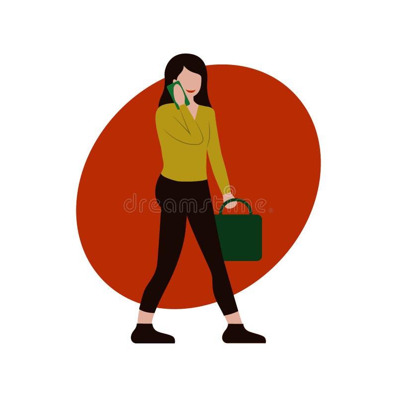 便服的女孩有办公室袋子的走和使用智能手机,象传染媒介,平的动画片例证,企业商标,网的 库存例证