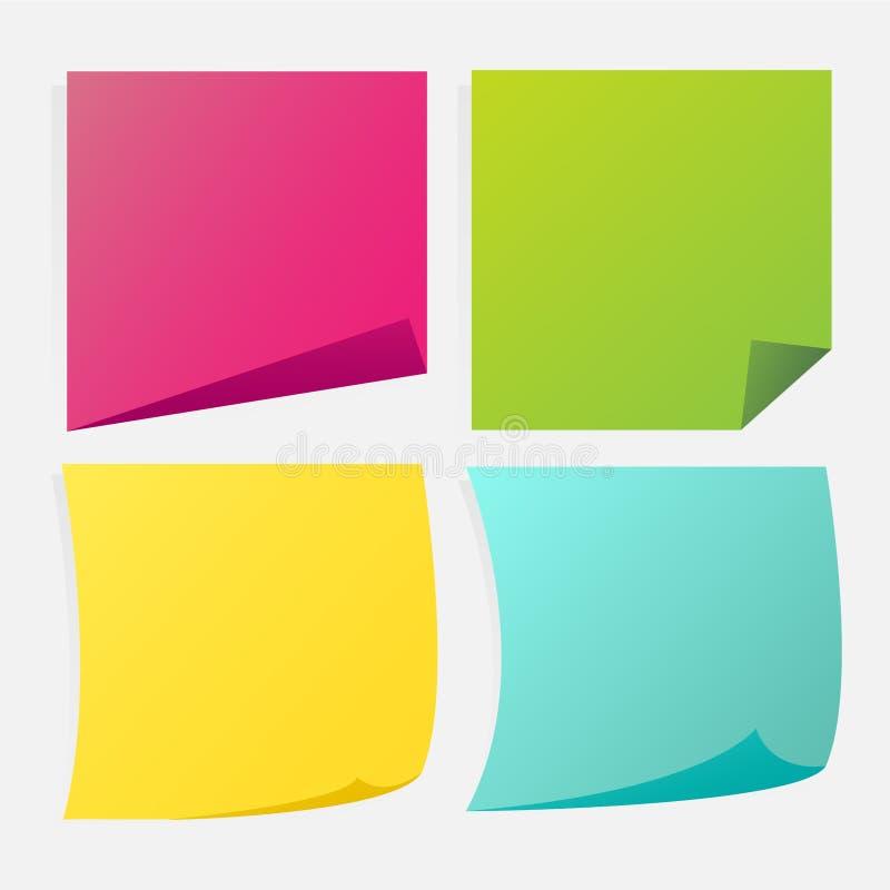 便条纸便条纸不同的色的板料的汇集  向量例证