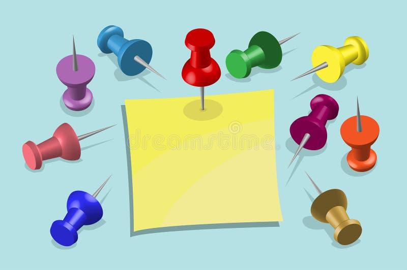 便条纸和图钉-办公设备 库存例证