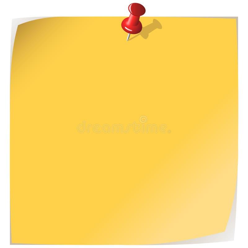 便条纸固定的黄色 皇族释放例证