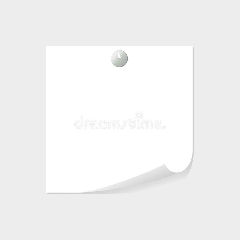 便条纸由与空间的在灰色背景的图钉文本的或消息添加了 名单,板料,空白 向量例证
