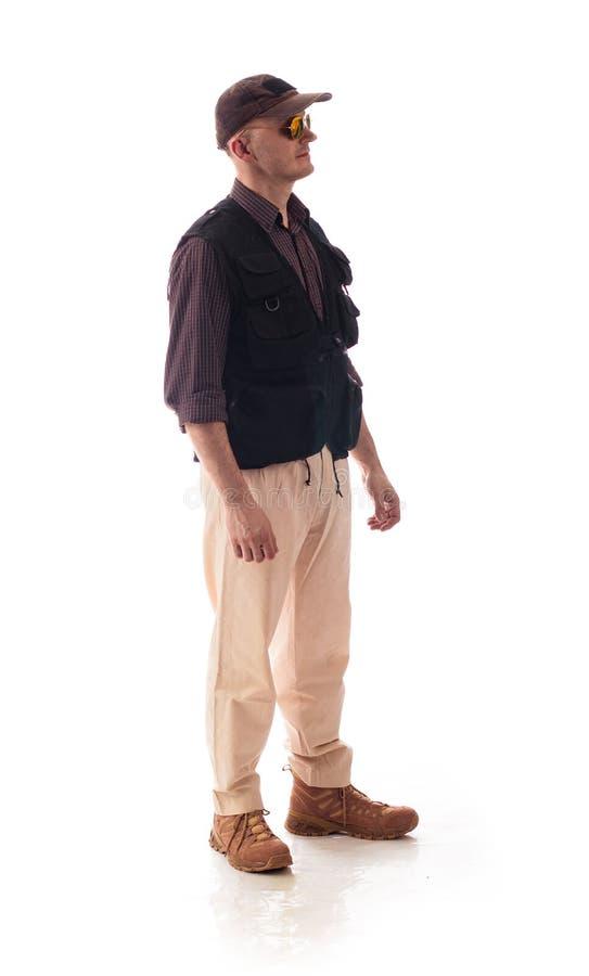 便衣专家的一个人在白色背景的战区 免版税库存图片