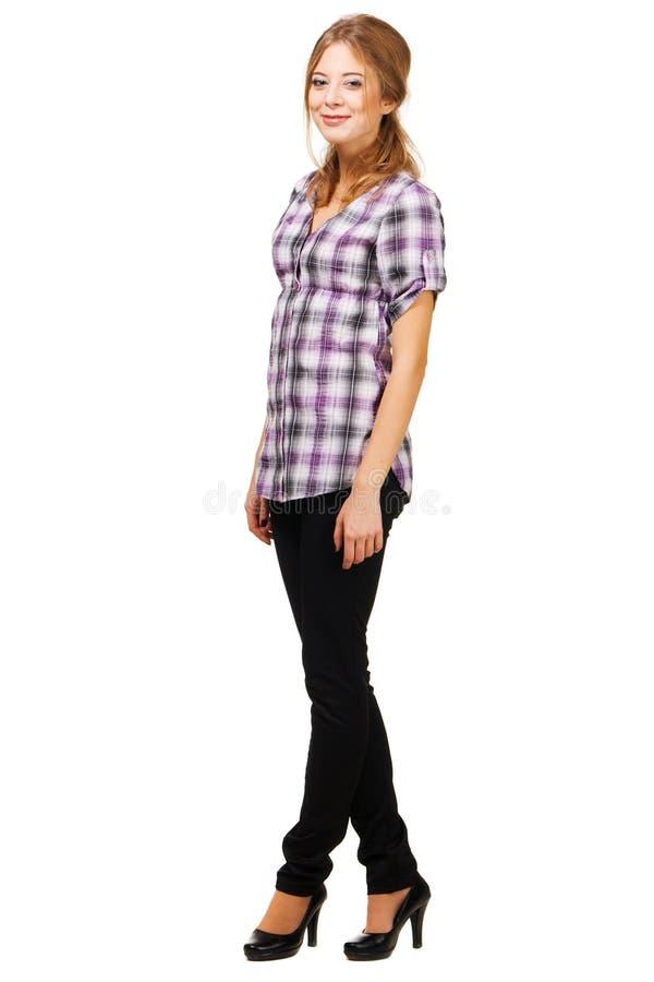 便衣可爱的妇女年轻人 免版税图库摄影