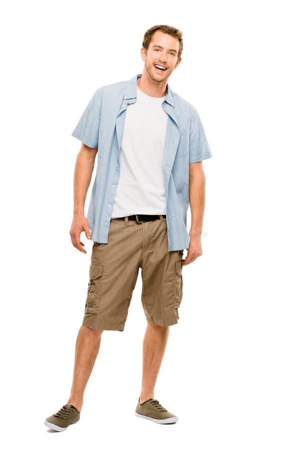 便衣白色backgr的全长可爱的年轻人 免版税图库摄影