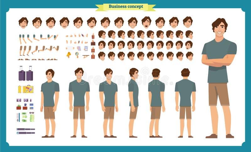 便衣的年轻人 字符创作集合 全长,不同的看法,情感,姿态,被隔绝反对 库存例证