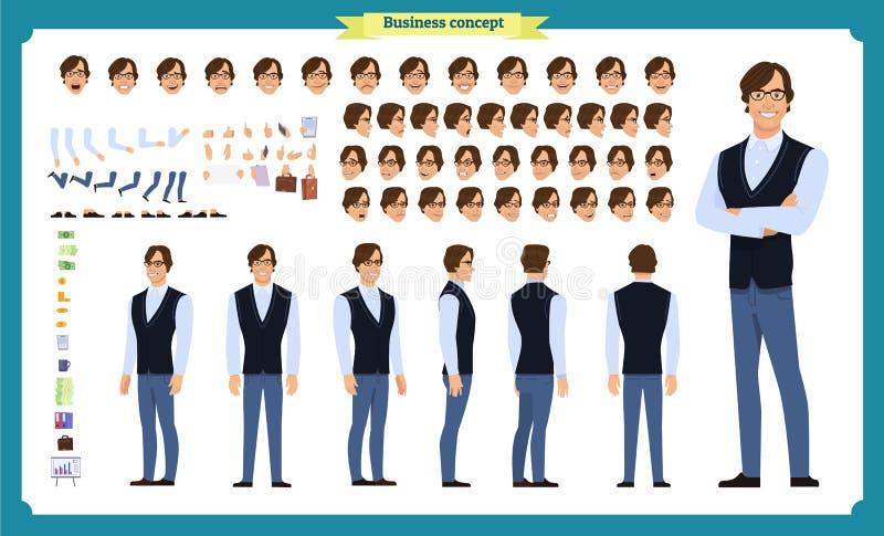 便衣的年轻人 字符创作集合 全长,不同的看法,情感 库存例证