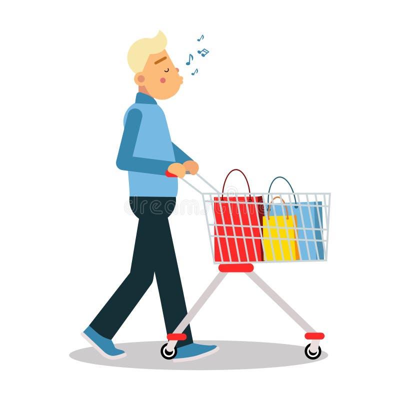 便衣的年轻白肤金发的人走与购物车和吹口哨的声调漫画人物传染媒介 向量例证