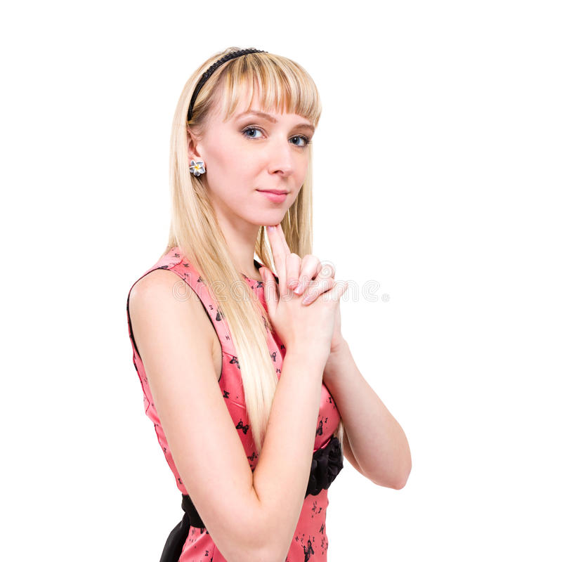 便装样式妇女画象。 免版税库存图片
