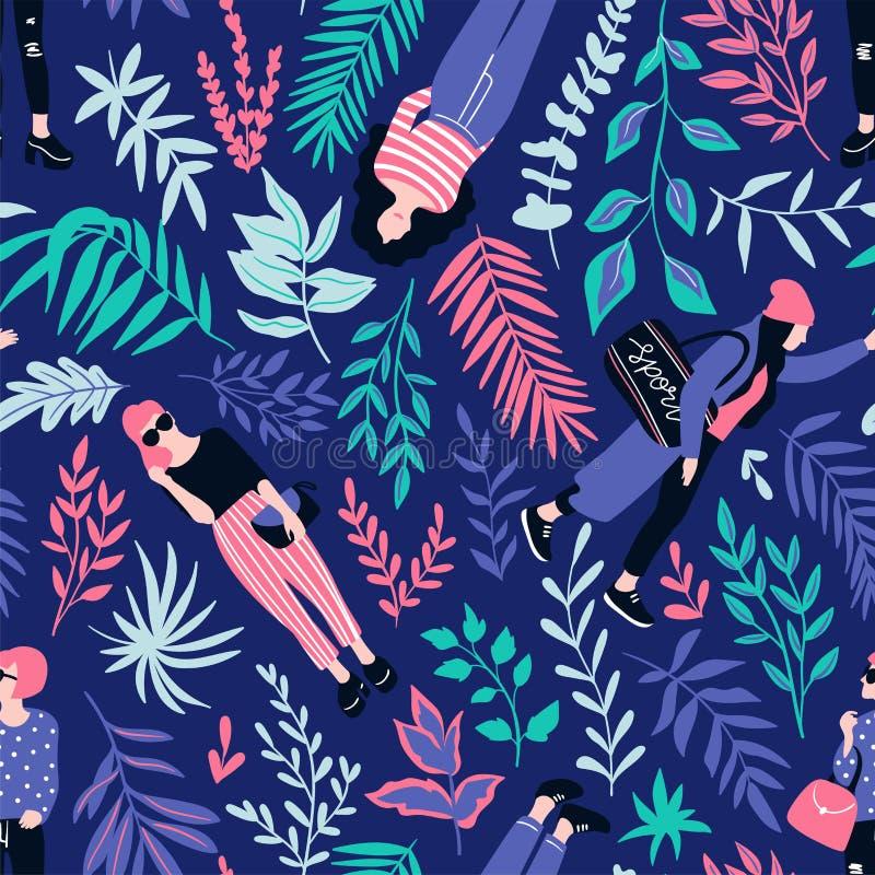 便装样式的时兴的少妇与在黑暗的背景的热带叶子 传染媒介手拉的时髦的无缝的样式 皇族释放例证