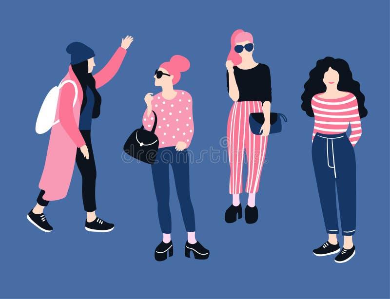 便装样式的时兴的少妇 与女孩的传染媒介手拉的时髦的集合 向量例证