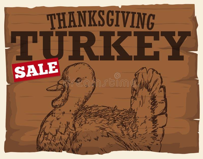 促进在销售中的木标志火鸡的感恩,传染媒介例证 皇族释放例证