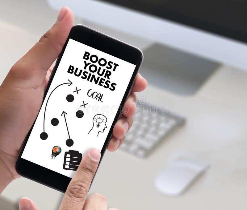促进您的事务,促进您的收入,事务,技术, 库存例证