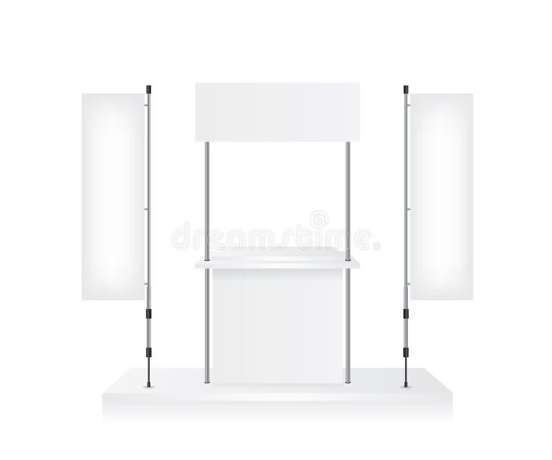 促进柜台和空白的旗子 向量例证