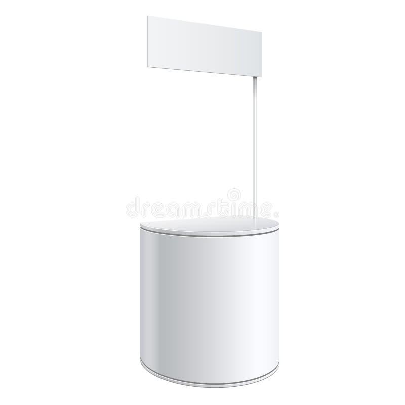 促进柜台,在白色背景隔绝的零售业立场 您的设计的大模型模板 也corel凹道例证向量 皇族释放例证