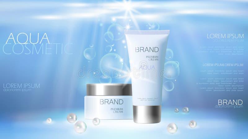 促进海报模板的水色护肤奶油化妆广告 水下的深海蓝色阳光光芒成珠状银色传染媒介 向量例证