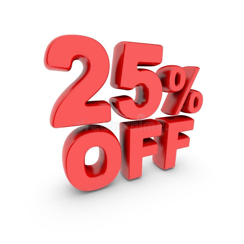 促进的25% 折扣标志 红色文本在白色被隔绝 库存例证