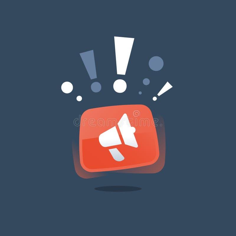 促进竞选活动,向外去营销,smm战略,广告概念,公共关系,红色扩音机,事件公告 库存例证