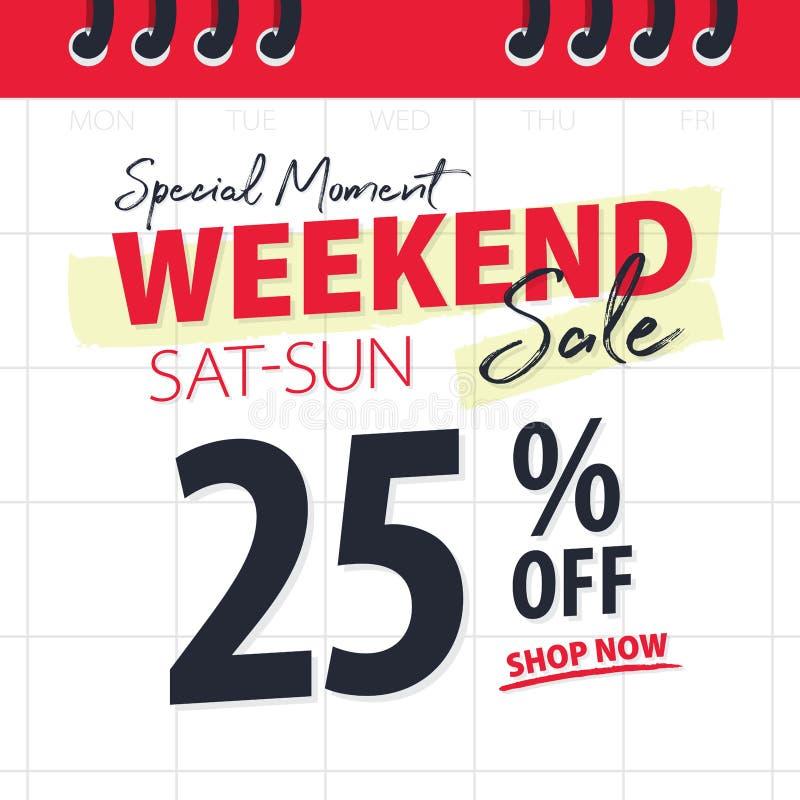 促进网站横幅标题设计的红色黑周末销售25%在日历横幅或海报的背景传染媒介 向量例证