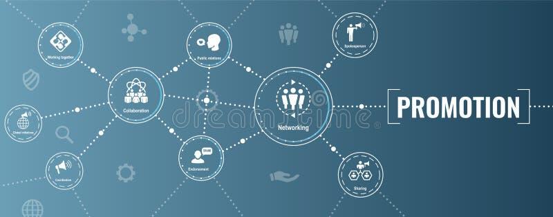 促进象设置了-手提式扬声机,协调, PR,公共关系 库存例证