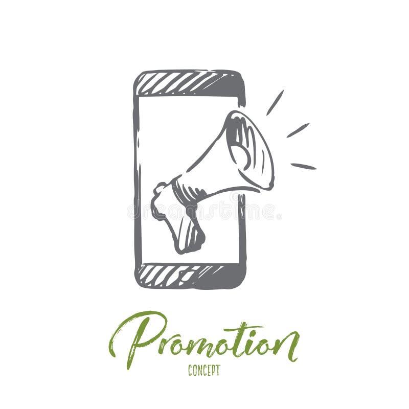 促进,手机,广告,报告人概念 手拉的被隔绝的传染媒介 皇族释放例证