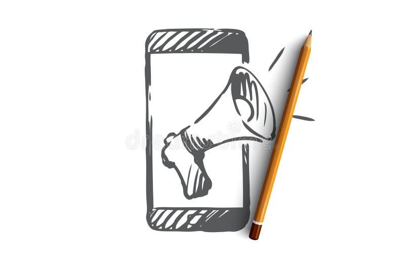 促进,手机,广告,报告人概念 手拉的被隔绝的传染媒介 向量例证