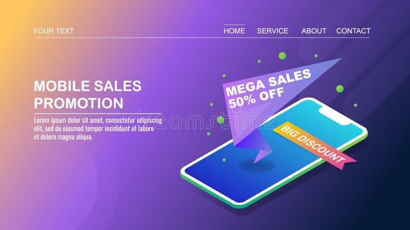 促销横幅,流动购物,兆销售,流动电子商务,3d等量设计观念 向量例证