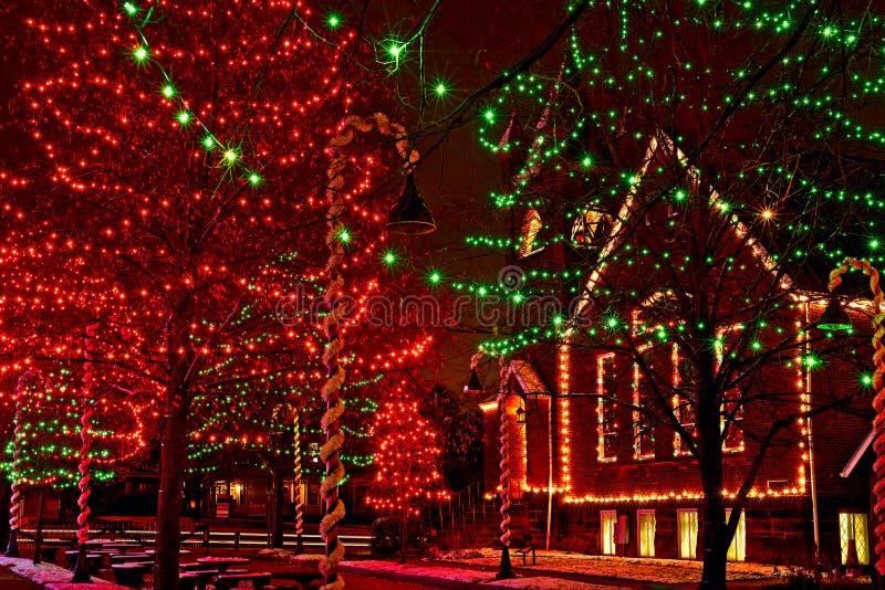 俄亥俄村庄圣诞灯 免版税图库摄影