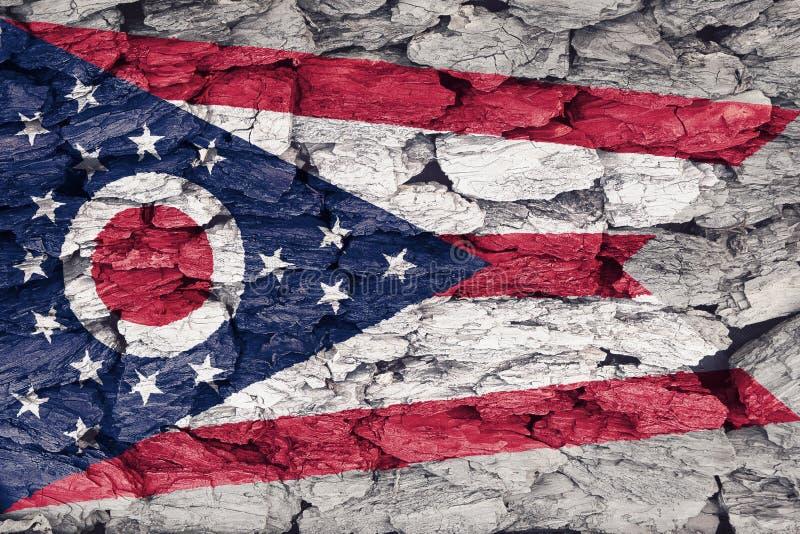 俄亥俄的旗子的纹理 库存例证