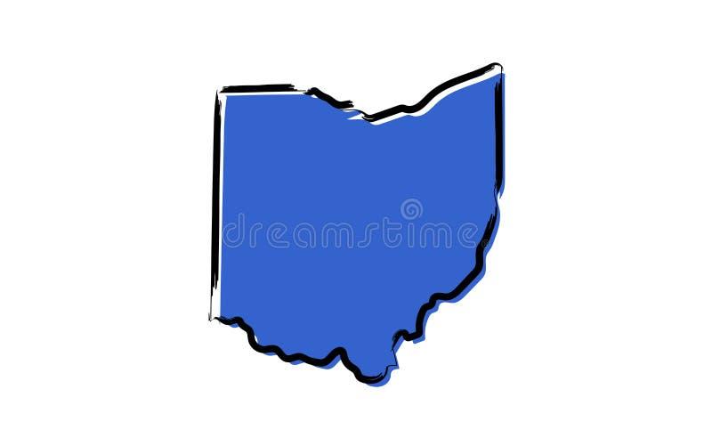 俄亥俄的风格化蓝色略图 皇族释放例证