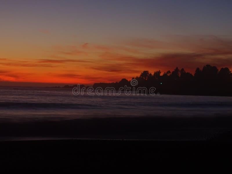 俄勒冈州海港的日落 库存图片