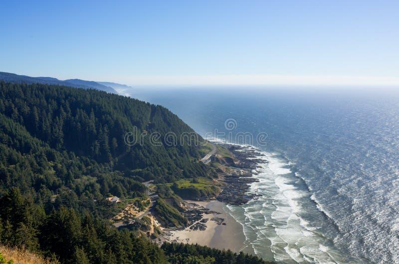 俄勒冈海岸线的看法 免版税库存照片