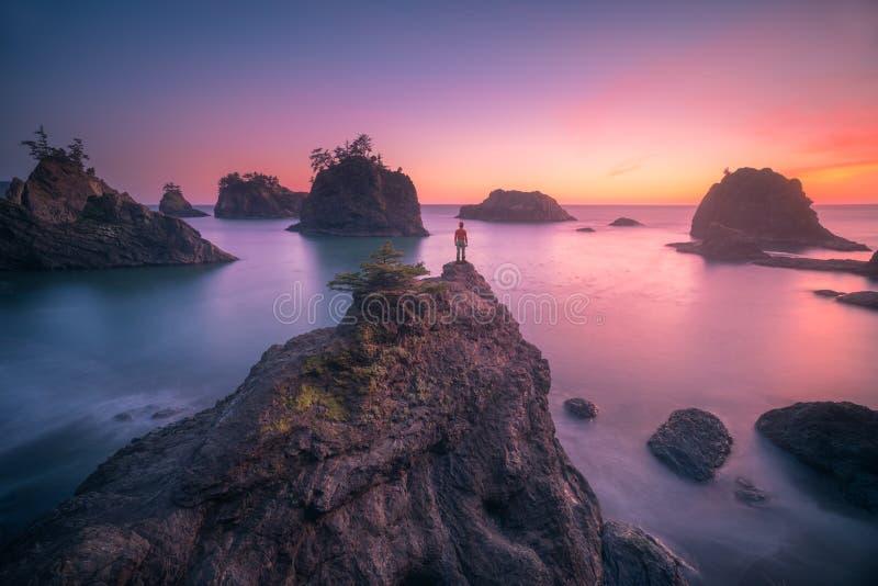 俄勒冈海岸观看的日落  免版税库存照片