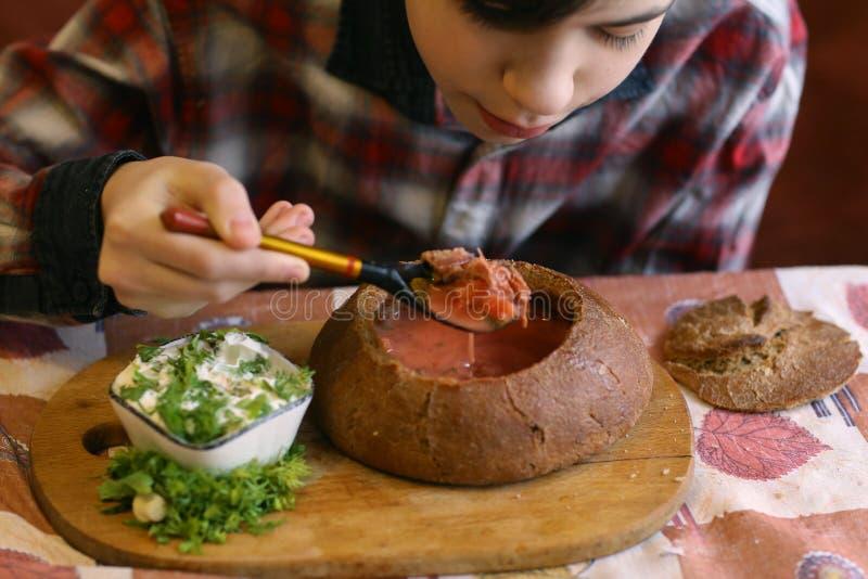 俄国传统烹调-与sourcream的罗宋汤红色甜菜根在圆的黑麦农民样式面包的汤和莳萝 免版税库存照片