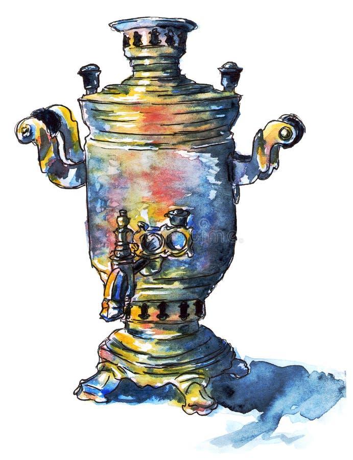 俄国传统葡萄酒古铜色俄国式茶炊,水彩例证 库存例证