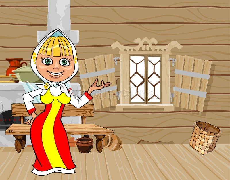 俄国全国礼服的动画片女孩在一个木房子里 向量例证