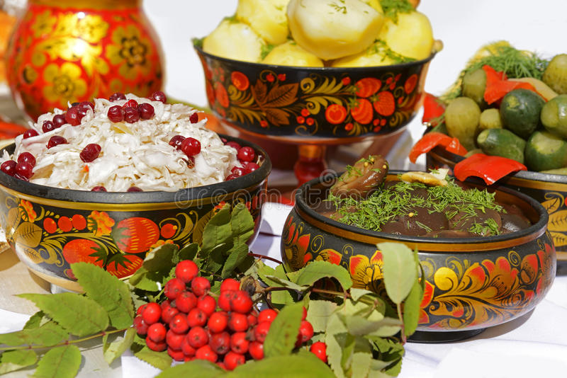 俄国全国食物 免版税库存照片