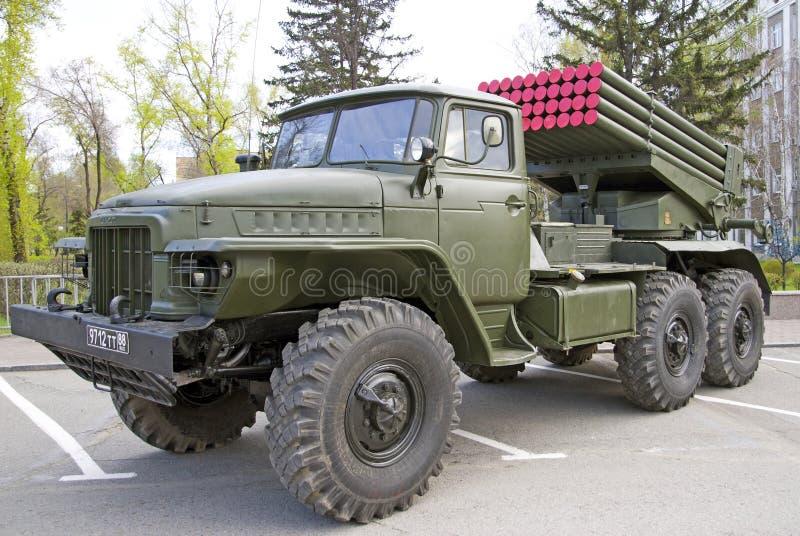 俄国军事设备特写镜头 在城市 平安的时间 齐射火`毕业`系统  库存图片