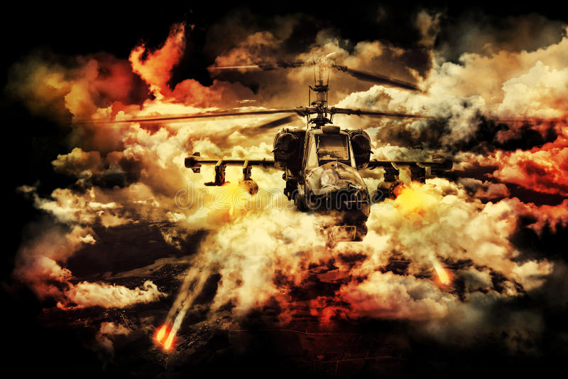 俄国军用直升机 免版税图库摄影