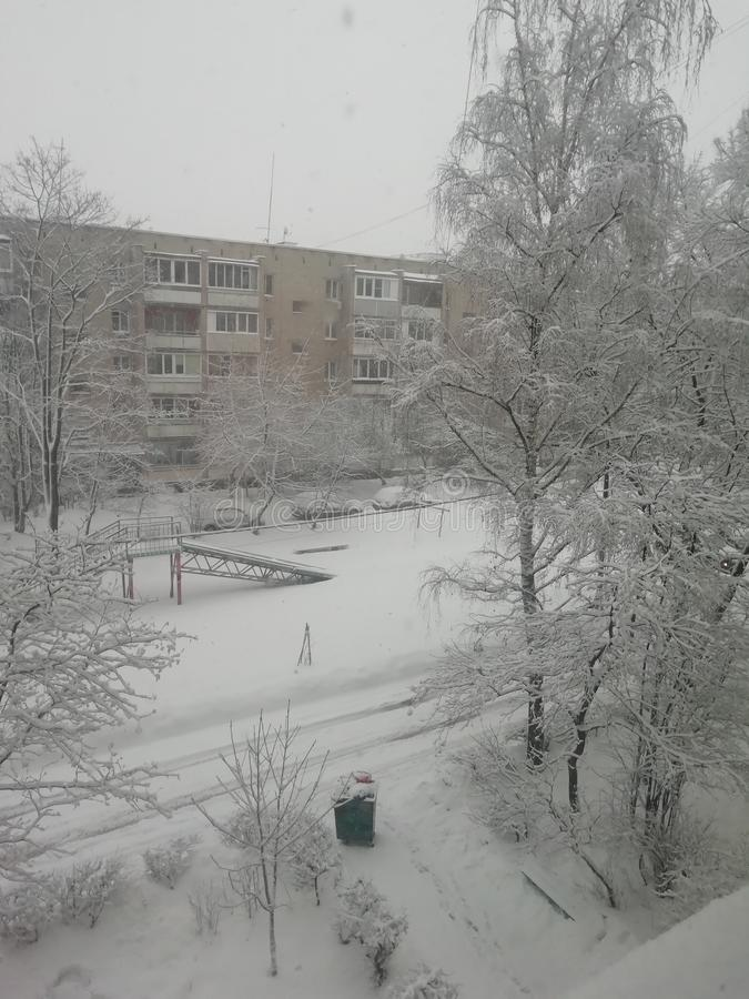 俄国冬天,美好的天气 库存图片